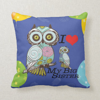 I-Love my-big Sister Owl Polyester Throw Pillow