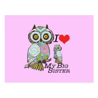 I-Love my-big Sister Owls  Multiple Product Select Postcard