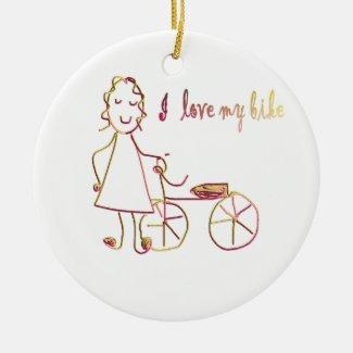 I love my bike ceramic ornament