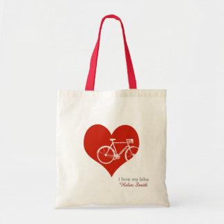 i love my bike / red heart budget tote bag