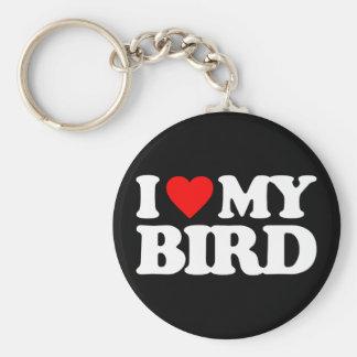 I LOVE MY BIRD BASIC ROUND BUTTON KEYCHAIN