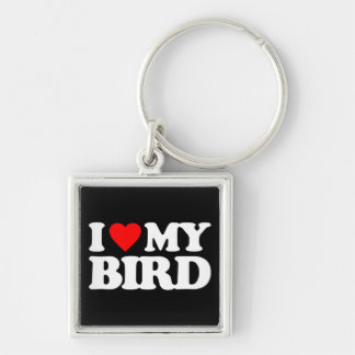 I LOVE MY BIRD Silver-Colored SQUARE KEYCHAIN