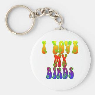 I Love My Birds Basic Round Button Keychain