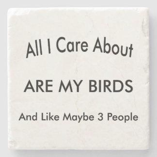 I Love My Birds Stone Beverage Coaster
