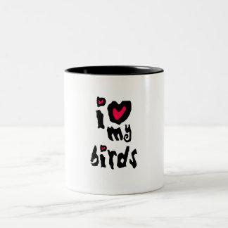 I Love My Birds Two-Tone Coffee Mug