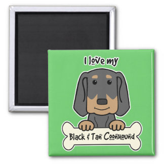 I Love My Black and Tan Coonhound 2 Inch Square Magnet