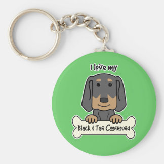 I Love My Black and Tan Coonhound Basic Round Button Keychain
