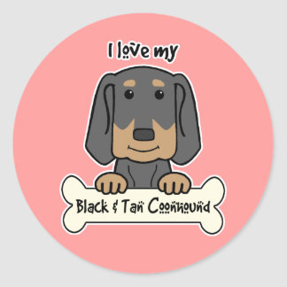 I Love My Black and Tan Coonhound Classic Round Sticker