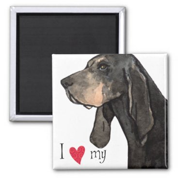 Valentines Themed I Love my Black and Tan Coonhound Magnet