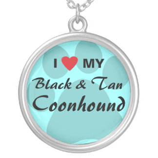 I Love My Black and Tan Coonhound Round Pendant Necklace