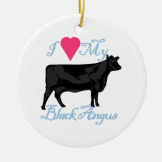 I Love My Black Angus Ceramic Ornament
