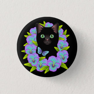 I Love My Black Cat Cute Floral Magnet Pinback Button