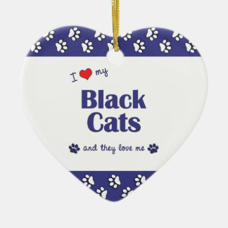 I Love My Black Cats (Multiple Cats) Double-Sided Heart Ceramic Christmas Ornament