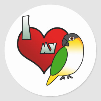 I Love my Black Headed Caique Stickers