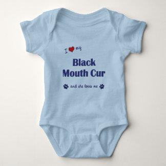 I Love My Black Mouth Cur (Female Dog) Baby Bodysuit
