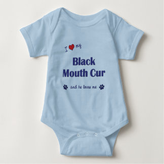 I Love My Black Mouth Cur (Male Dog) Baby Bodysuit