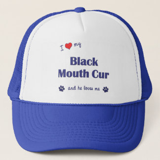 I Love My Black Mouth Cur (Male Dog) Trucker Hat