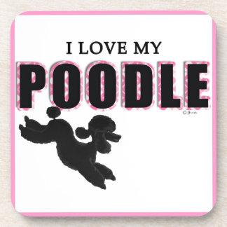 I Love My Black Poodle Coaster