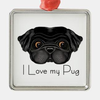 I Love my Black Pug Ornaments