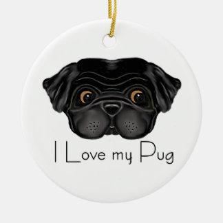 I Love my Black Pug Double-Sided Ceramic Round Christmas Ornament
