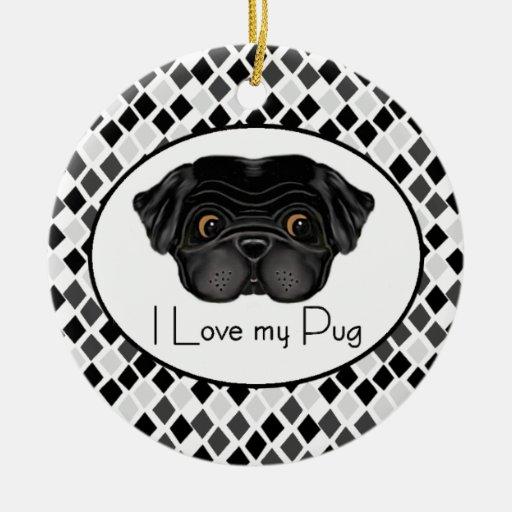 I Love my Black Pug Christmas Ornaments