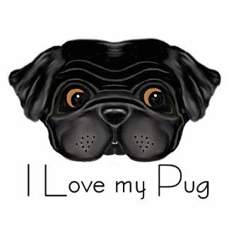 I Love my Black Pug Standing Photo Sculpture