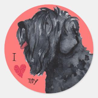 I Love my Black Russian Terrier Classic Round Sticker