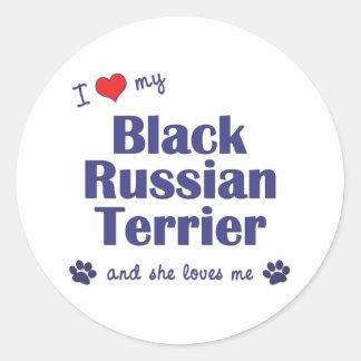 I Love My Black Russian Terrier (Female Dog) Classic Round Sticker