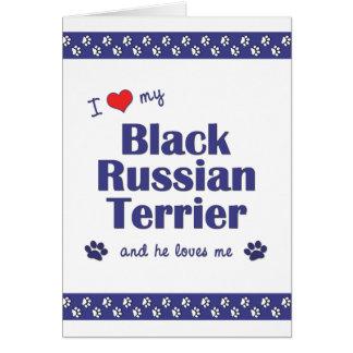 I Love My Black Russian Terrier (Male Dog) Card