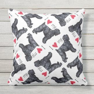 I Love my Black Russian Terrier Outdoor Pillow