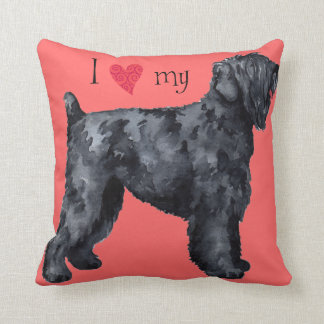 I Love my Black Russian Terrier Throw Pillow