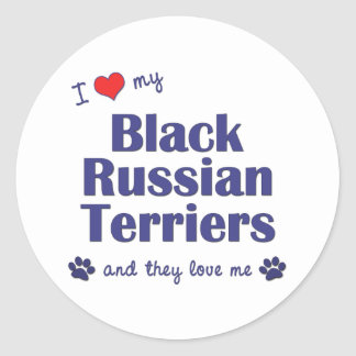 I Love My Black Russian Terriers (Multiple Dogs) Classic Round Sticker