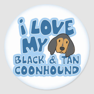 I Love My Black & Tan Coonhound Stickers