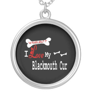 I Love My Blackmouth Cur Silver Plated Necklace