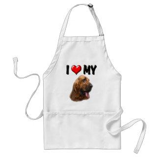 I Love My Bloodhound Adult Apron