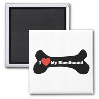 I Love My Bloodhound - Dog Bone 2 Inch Square Magnet