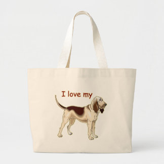 I Love My Bloodhound Large Tote Bag