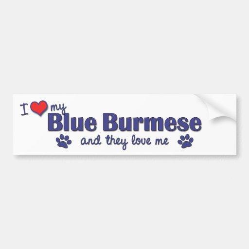I Love My Blue Burmese (Multiple Cats) Bumper Stickers
