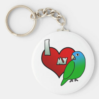 I Love my Blue Crowned Conure Basic Round Button Keychain