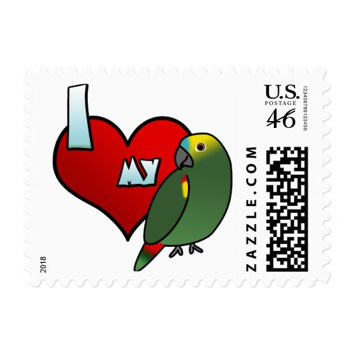 I Love my Blue Fronted Amazon Postage Stamps