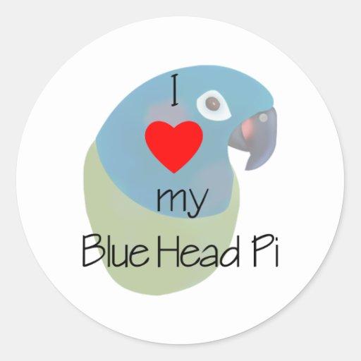 I Love My Blue Head Pi (painting) Classic Round Sticker
