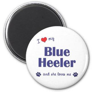 I Love My Blue Heeler (Female Dog) 2 Inch Round Magnet