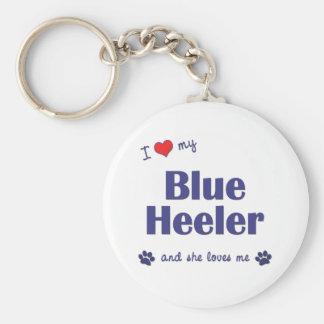 I Love My Blue Heeler (Female Dog) Basic Round Button Keychain