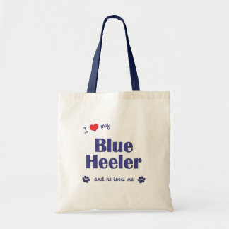 I Love My Blue Heeler (Male Dog) Tote Bag