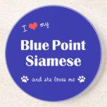 I Love My Blue Point Siamese (Female Cat) Beverage Coasters