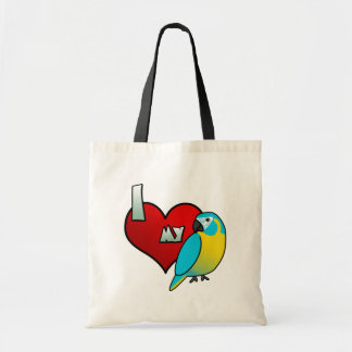 I Love my Blue Throated Macaw Canvas Bags