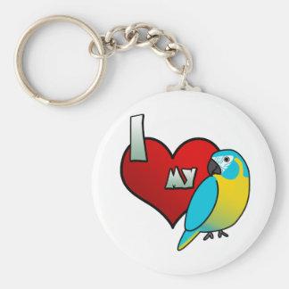 I Love my Blue Throated Macaw Key Chain
