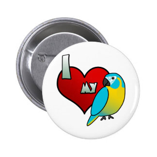 I Love my Blue Throated Macaw Pinback Buttons