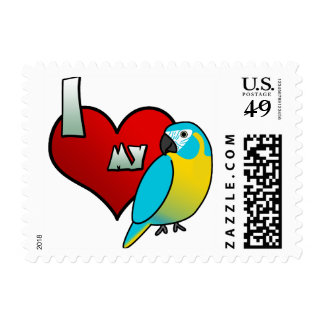 I Love my Blue Throated Macaw Postage Stamps