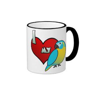 I Love my Blue Throated Macaw Ringer Coffee Mug